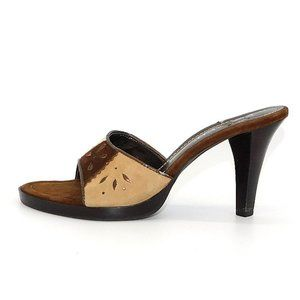 NWOT Franco Sarto Leather Slip on Heel Sandals